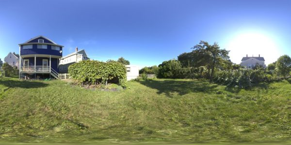 Backyard Day 360 degree panoramic photography image and map for 3D rendering.