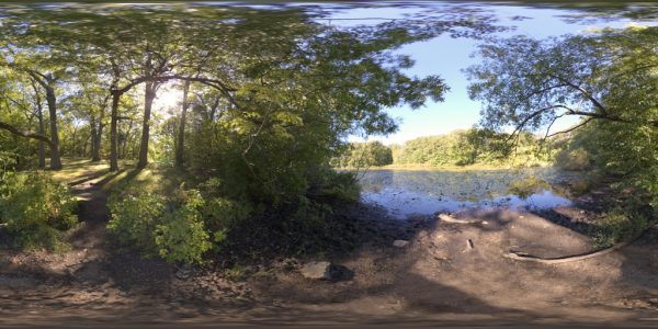 Bellevue Pond 360 degree panoramic photography image and map for 3D rendering.