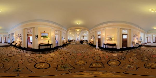 Mt. Washington Hotel Wing 360 degree panoramic photography image and map for 3D rendering.
