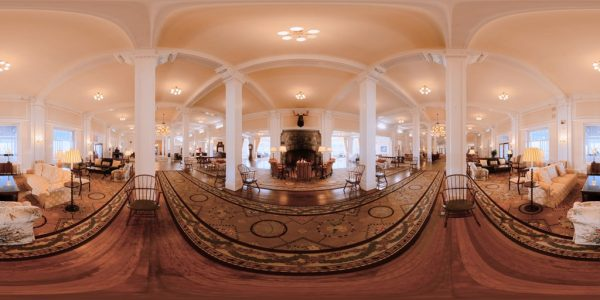 Mt. Washington Lobby 360 degree panoramic photography image and map for 3D rendering.