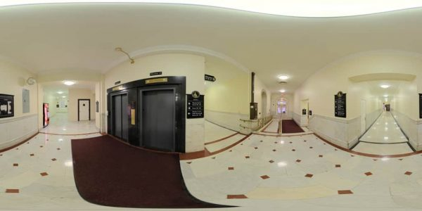 State House, Elevator Room, Boston, MA. 360 degree panoramic photography image and map for 3D rendering.