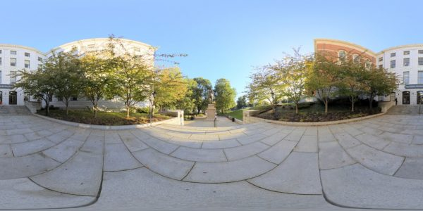 State House Entrance, Boston, MA. 360 degree panoramic photography image and map for 3D rendering.