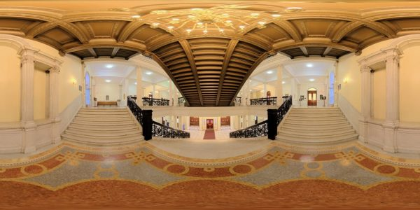 State House Main Staircase, Boston, MA. 360 degree panoramic photography image and map for 3D rendering.