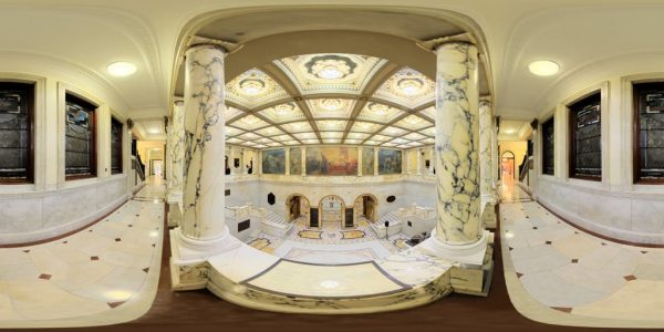 State House Nurses Hall, Boston, MA. 360 degree panoramic photography image and map for 3D rendering.