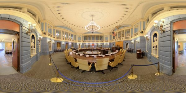 State House Senate Chamber, Boston MA. 360 degree panoramic photography image and map for 3D rendering.