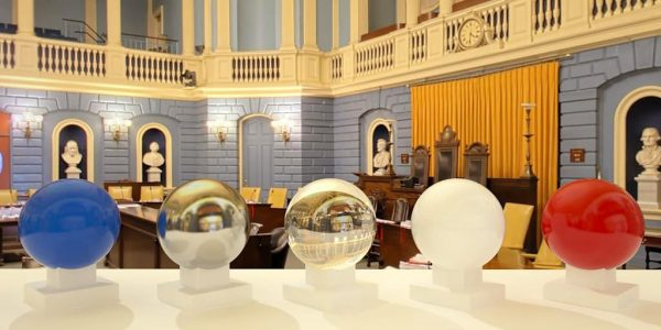 3D HDR rendering and photo image of State House Senate Chamber, Boston MA.