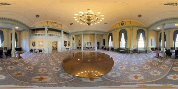 State House Senate Reception Room, Boston MA. 360 degree panoramic photography image and map for 3D rendering.