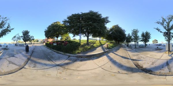 Castle Island Sidewalk 360 degree panoramic photography image and map for 3D rendering.