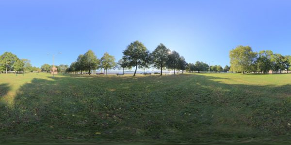 South Boston Park 360 degree panoramic photography image and map for 3D rendering.