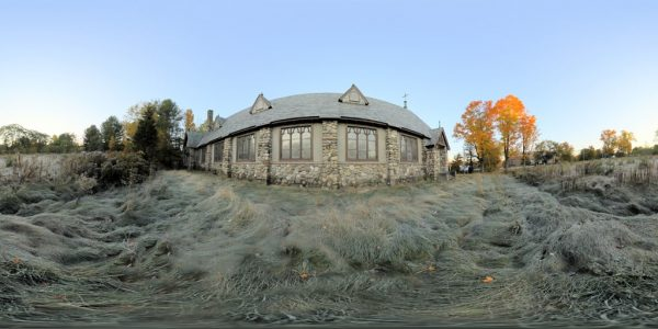Abandoned Church Field 360 degree panoramic photography image and map for 3D rendering.
