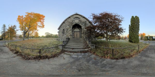 Abandoned Church Front 360 degree panoramic photography image and map for 3D rendering.