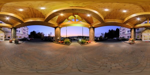 Hotel Entrance 360 degree panoramic photography image and map for 3D rendering.