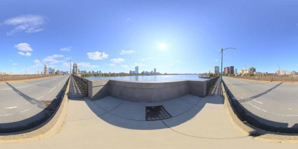 Longfellow Bridge 360 degree panoramic photography image and map for 3D rendering.