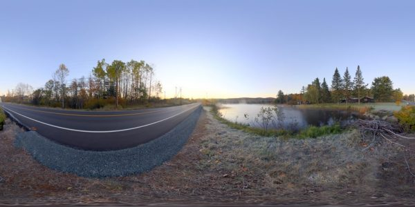 Misty Pond 360 degree panoramic photography image and map for 3D rendering.