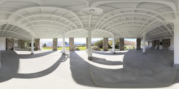 87. Mt. Washington Hotel Patio 360 degree panoramic photography image and map for 3D rendering.