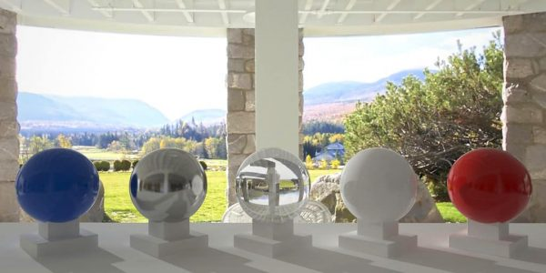 3D HDR rendering and photo image of Mt. Washington Hotel Patio.