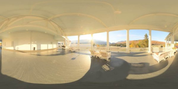 Mt. Washington Hotel Veranda 360 degree panoramic photography image and map for 3D rendering.