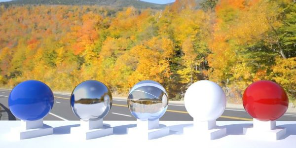 3D HDR rendering and photo image of New Hampshire Fall Panorama.