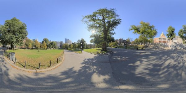 Park Street, Boston MA. 360 degree panoramic photography image and map for 3D rendering.