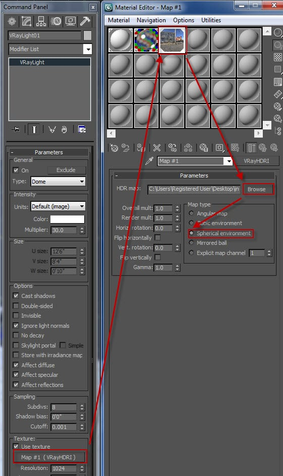 VRay HDR texture selection and settings via the Material Editor and Max Command Panel.