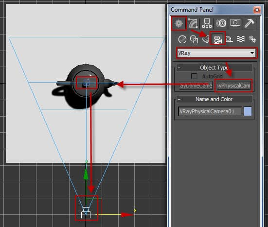 How to set a VRayPhysicalCam or VRay camera for 3D rendering purposes.