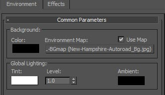 VRay Background Environment Map settings in 3DS Max.