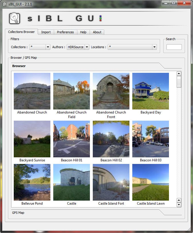 sIBL Collections Browser interface to help organize High Dynamic Range Image or HDRI files.