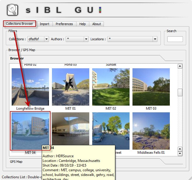 Selecting and loading a sIBL HDR set through the collections browser.