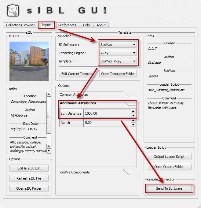 sIBL GUI import and export steps for loading sIBL HDR images.