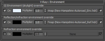 VRay environment override settings for lighting and faster renderings.